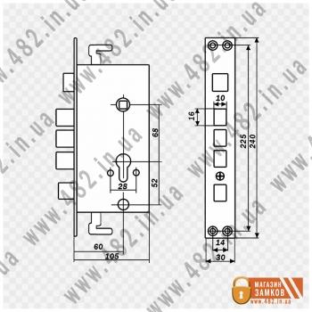 Схема с размерами дверного замка на китайские двери